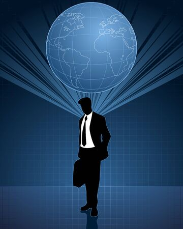 global thinking: Vector illustration of a global thinking in business
