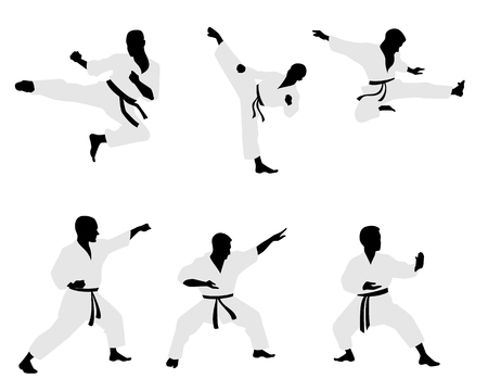 black belt: Vector illustration of a six karateka silhouettes