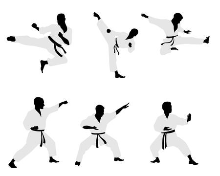 karateka: Vector illustration of a six karateka silhouettes