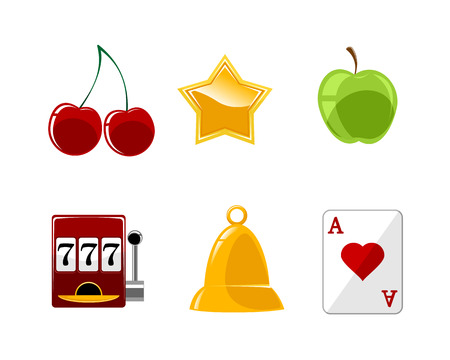 Vector illustration of a six casino icons set Ilustrace
