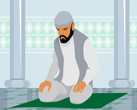 hombre orando: Ilustración vectorial de un hombre musulmán que ruega
