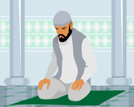 man praying: Vector illustration of a muslim man praying