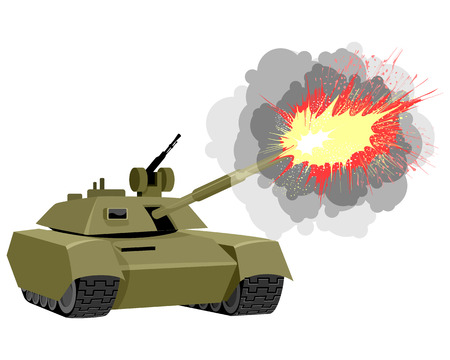 Vector illustration of a modern tank shoots Фото со стока - 51932254