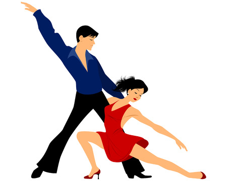 bailes latinos: Ilustración vectorial de una joven pareja de baile