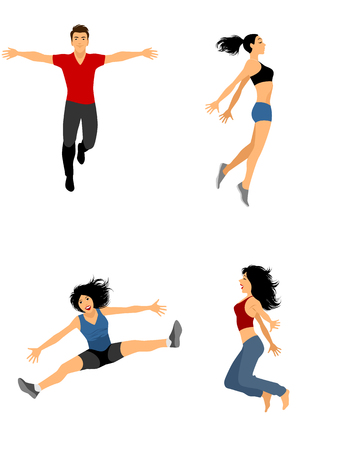 Vector illustration of a four jumping people