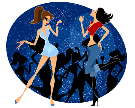 Vector illustration of two girls dancing