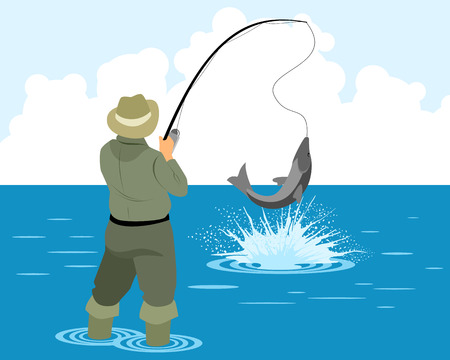 Vector illustration of a fisherman catches pike Ilustracja