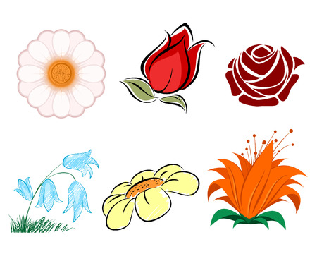 Vector illustration of a six plowers set Ilustrace