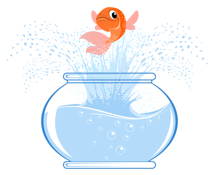 Vector illustration of a gold fish jumping Ilustrace