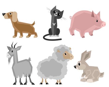 Vector illustration of a six pets set