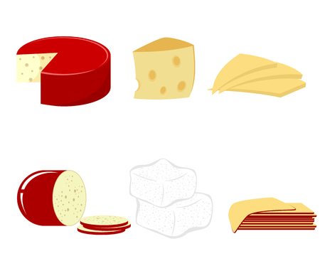 Vector illustration of a six kind of cheese