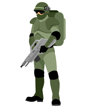 space wars: Vector illustration of a soldier of the future Illustration