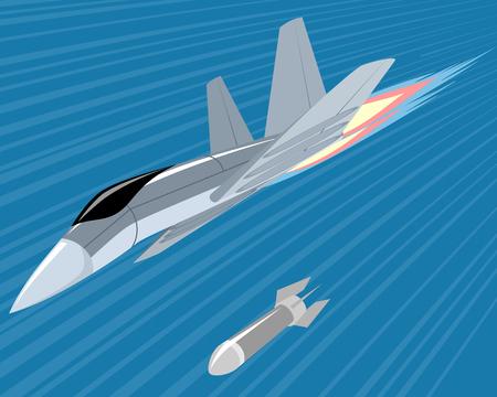 Vector illustration of a bomber lobbing rockets