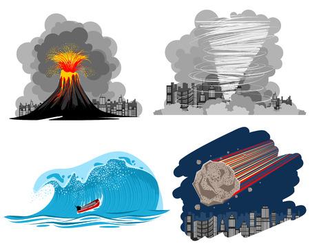 Ilustración del vector imagen de un cuatro desastres naturales
