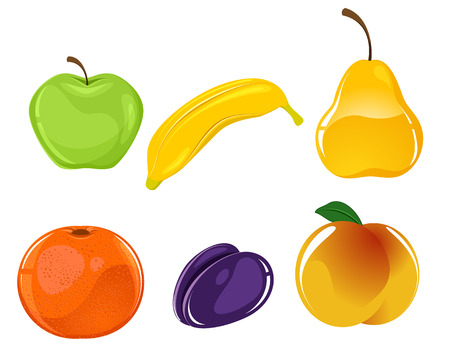 Vector illustration image of a six fruits set