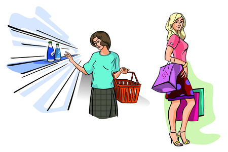 Vector illustration of a two girls shopping Фото со стока - 51919710