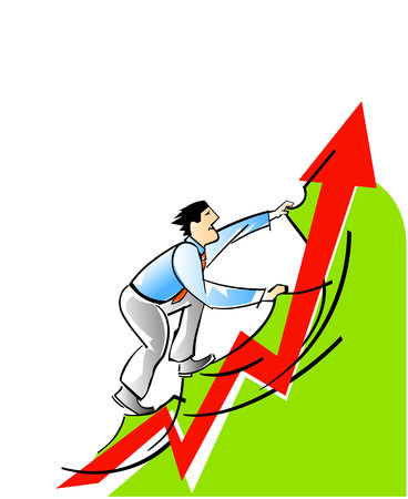 financial managers: Vector illustration of a businessman and career growth Illustration