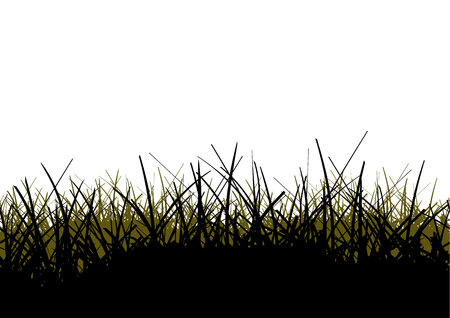 Vector illustration of a grass field silhouettes