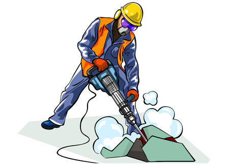 presslufthammer: Vektor-Illustration eines Arbeitnehmers mit Bohrhammer Illustration