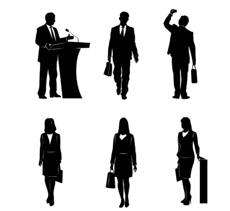 Vector illustration of a six business people silhouettes