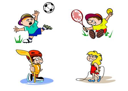 jugando futbol: Ilustración vectorial de un cuatro hijos ajustado Vectores