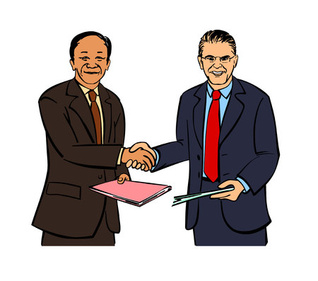 hombres ejecutivos: Ilustración vectorial de un dos hombres de negocios apretón de manos