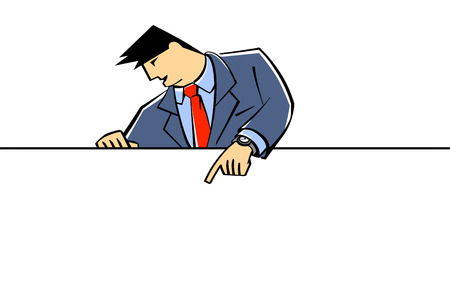 Vector illustration of a businessman showing at banner