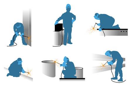 溶接機シルエット セットのベクトル イラスト