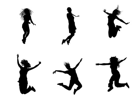 Vector illustration of a six jumping teenagers Ilustrace