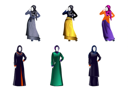 muslim fashion: Vector illustration of a six modern muslim girls Illustration