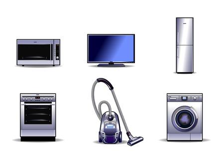 Illustration vectorielle d'un ensemble d'appareils ménagers Vecteurs