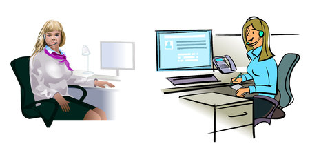 Vector illustration of a call center worker