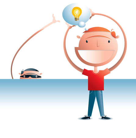 Man holding a thought bubble with a light globe in it representing an idea  There s a thief in the background attempting to steal the idea   Stock Vector - 16054908