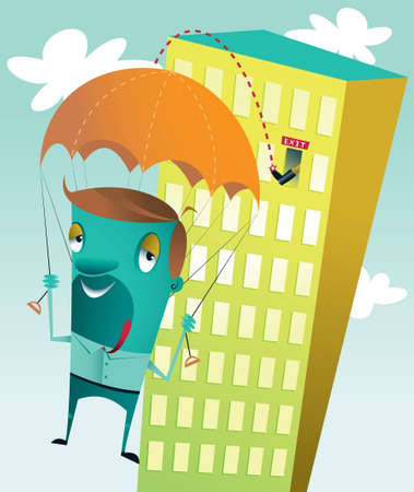 A guy getting kicked out of a high rise building  losing his job  making a safe landing because he has a parachute  Stock Vector - 16054904