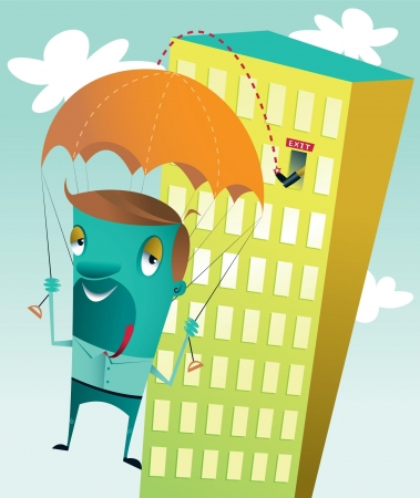 downsizing: A guy getting kicked out of a high rise building  losing his job  making a safe landing because he has a parachute