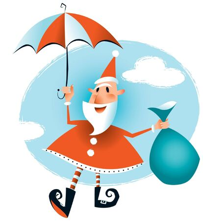 midair: Just in time for Christmas - Santa has arrived floating down on his umbrella  Illustration