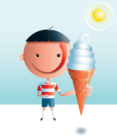 A boy with a big head and a big tongue is looking forward to eating an ice cream cone on a hot day