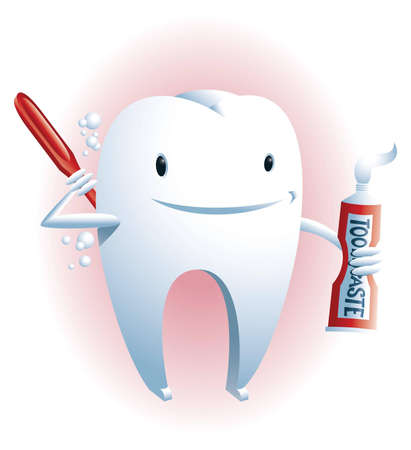 scrubbing: Oral hygiene  A cute smiling tooth is scrubbing its back with a toothbrush and toothpaste
