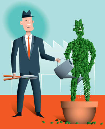 surrogate: Succession planning  A businessman is nurturing a topiary version of himself which is growing in a pot  There s a factory in the background  This represents a manager identifying and nurturing someone who can replace him when he retires or leaves