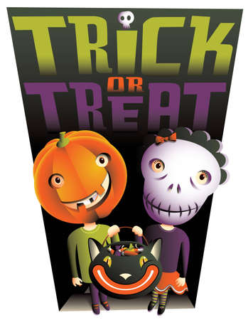 Trick or Treat  A cute boy and girl with Jack OLantern and Skull masks are standing in the doorway of a house waiting for some candy to put in their Black Cat basket