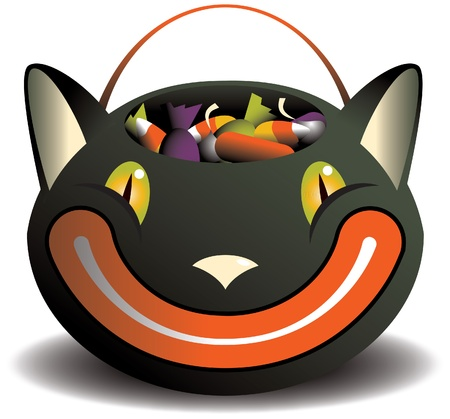 candy corn: An isolated vintage style grinning black cat candy basket full of candy  Illustration