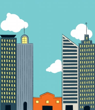 big business: Grande en comparaci�n con Small Business Una peque�a tienda est� atascado en entre cuatro enormes rascacielos que representa las peque�as empresas que luchan contra el poder de las grandes empresas