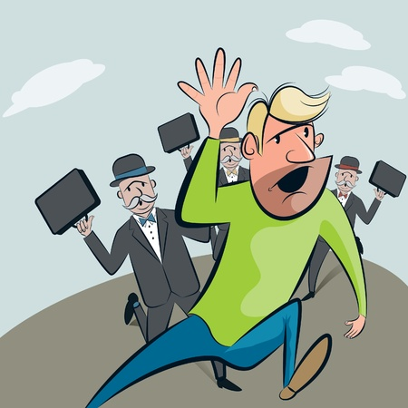 pursued: Unwanted salesmen  Man being chased by three salesmen trying to sell their products