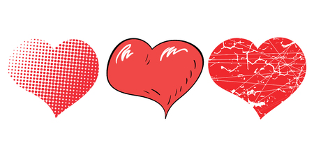 Three pop-art hearts for decoration in Valentines day with point and cracks Vector