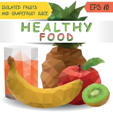 grapefruit juice: Healthy food set with fresh ripe fruits and grapefruit juice
