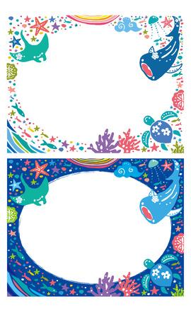 海のフレーム  イラスト・ベクター素材