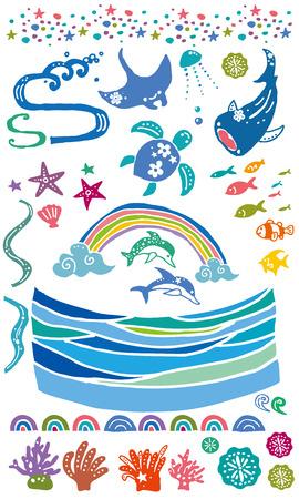 海の生き物  イラスト・ベクター素材