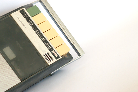 tape player: old Cassette Tape player and recorder on grey background Stock Photo