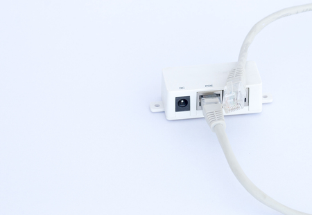 lan connection: UTP LAN cable plugin into the LAN connection, isolated on white