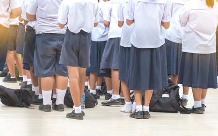 Thailand secondary education students are standing in line in morning, uniform student in thai school education  Reklamní fotografie